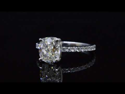 Cushion cut Diamond Pave Engagement Ring H, VS2 with c054 GIA Certified