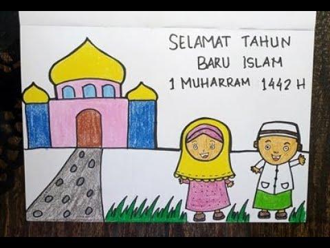 Cara Menggambar Tahun Baru Islam 1 Muharram 1442 Hijriyah Untuk Anak Sd Dan Tk Youtube