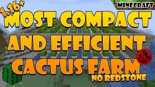 Most Compact/Efficient 1.16+ Minecraft Cactus Farm | Tutorial