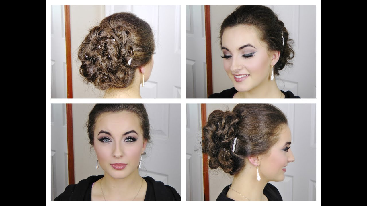 Fast And Simple Curly Elegant Updo For Prom