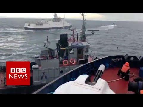 Footage shows Russian ship crashing into Ukrainian tug  - BBC News