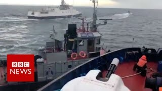 Footage shows Russian ship crashing into Ukrainian tug  - BBC News