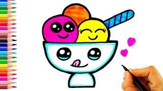 Dondurma Kasesi Nasıl Çizilir? - How To Draw A Cute Ice Cream Cup