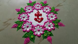 Very Beautiful Pooja Special Ganesha Muggu design by Sangeeta Latest Rangoli for Beginners