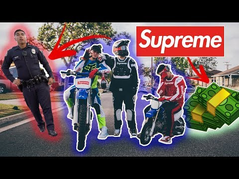 Actually using Supreme x Fox Racing Collab! ( illegal! Cops Came)