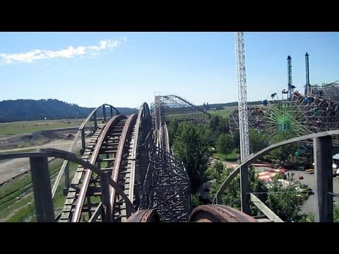 Timber Terror front seat on-ride HD POV Silverwood Theme Park