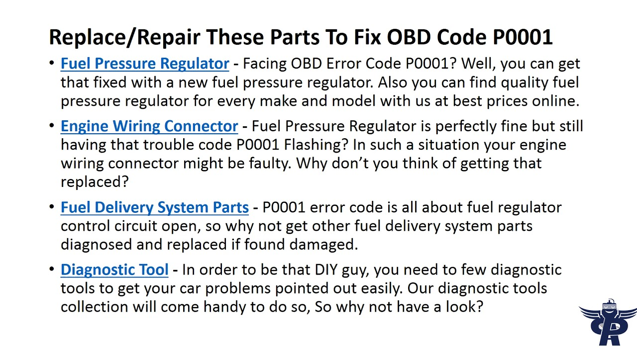 Partsavatar Provides You The Meaning Of Obd Code P0001 Fuel Volume Regulator Control Circuit Open