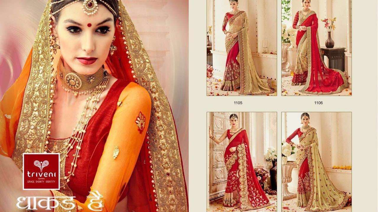 a3a7e11631 latest Indian Wedding Sarees Collections 2017 || Triveni Dhakad ...