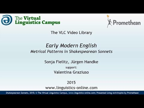 Early Modern English - Metrical Patterns in Shakespearean Sonnets