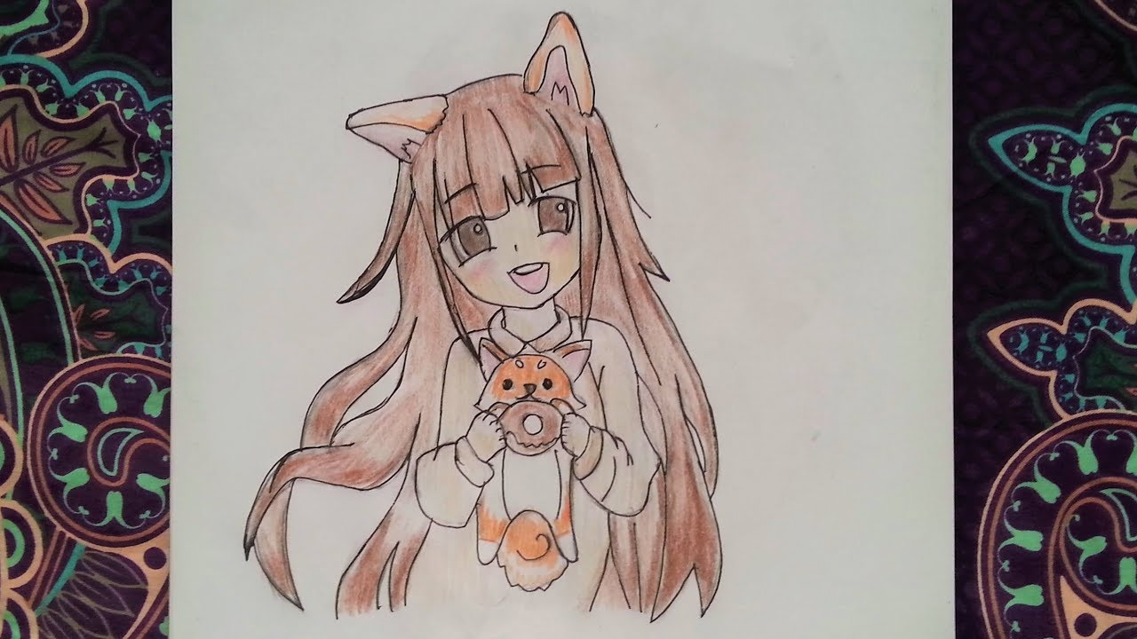 How To Draw Anime Girl With A Fox Ears And A Fox Animal Costume