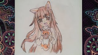 How to draw anime girl with a fox ears and a fox (Animal Costume) - Easy and quick - DiyaCake