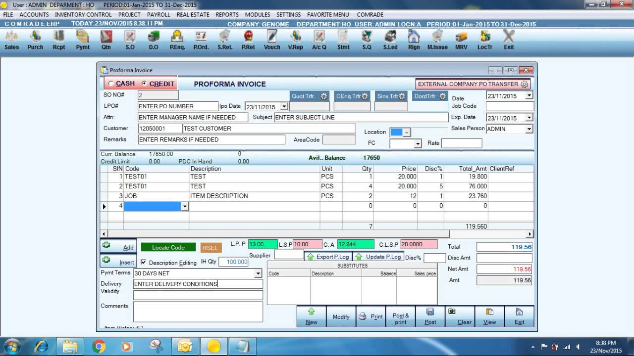 PREPARING PROFORMA INVOICE IN COMRADE ERP YouTube - How to prepare proforma invoice