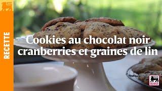 Cookies au chocolat noir cranberries et graines de lin