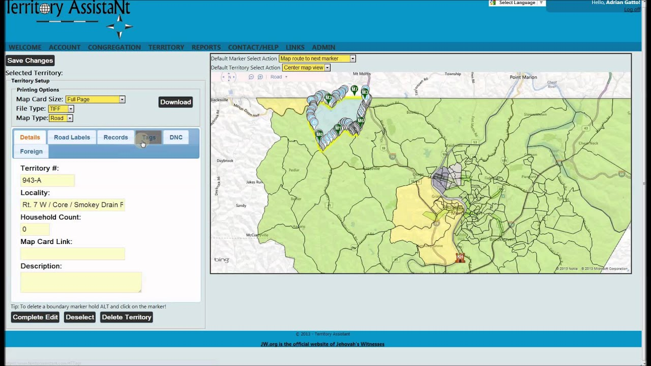 Congregation Overview Wall Map Builder and Territory Tags