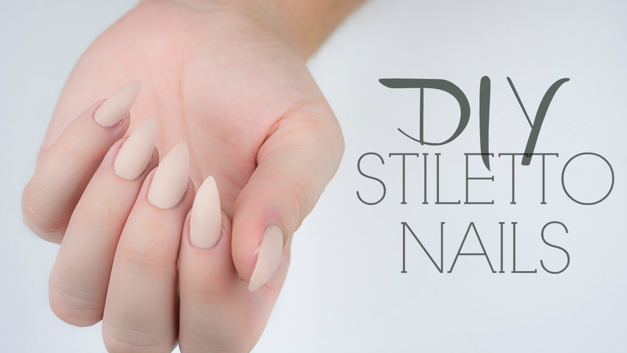 DIY Stiletto Nails | No Acrylic | Affordable | + Giveaway! - YouTube