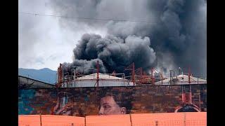 Incendio en inmediaciones de la Fábrica de Licores de Antioquia, en Itagüí