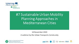 Utc Webinar 7 Sustainable Urban Mobility Planning Approaches In Mediterranean Cities
