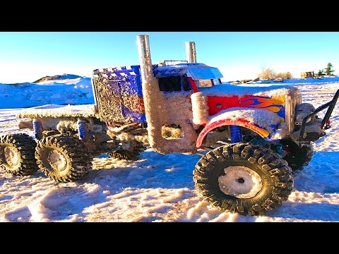 RC ADVENTURES - OPTiMUS OVERKiLL 6x6x6 SEMi TRUCK CHEWS the iCY SNOWFALL - 6S, 22 Volts of POWER!