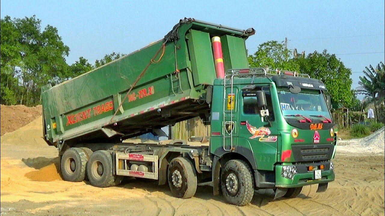 Xe Ô Tô Tải Ben Howo 4 Chân Chở Và Đổ Cát | Dump Truck | TienTube TV