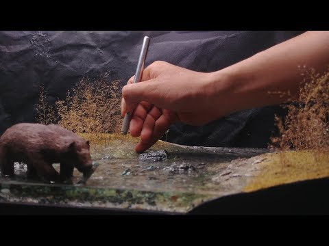 Build an realistic river and bear catching fish - resin water effect