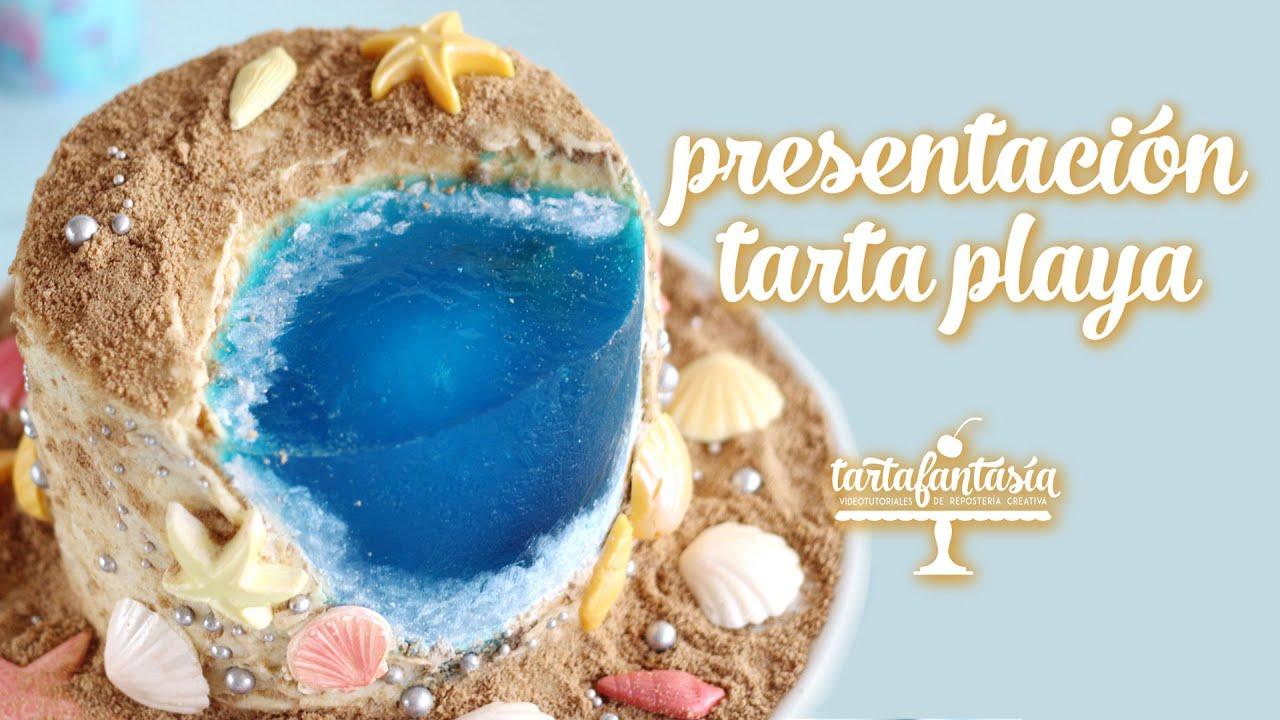 Tarta Playa. Agua de gelatina o grenetina.