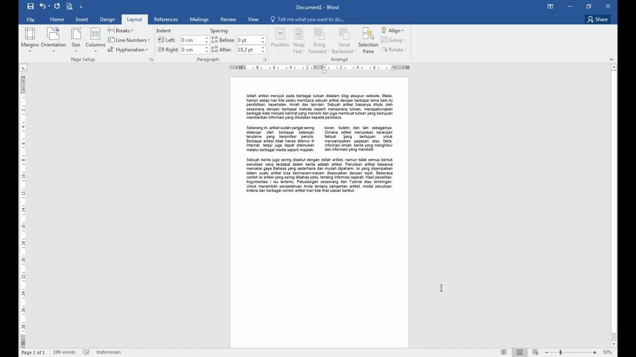 Bagaimana cara membuat kolom koran juga halaman portrait dan ...