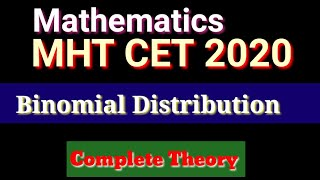 Binomial Distribution Lecture 1 for MHT CET 2020