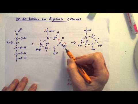 Glucose - Übergang von Ketten- in Ringform