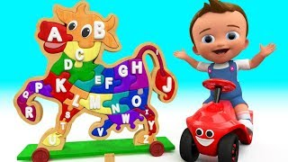 Baby Fun Learning Alphabets with Wooden Cow 3D Puzzle Toy Farm Animals for Kids Children Educational