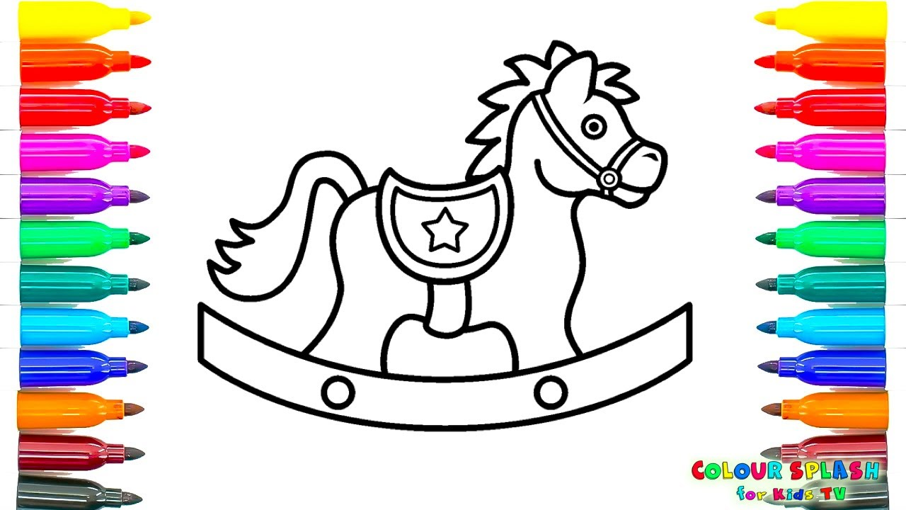 how to draw a rocking horse coloring pages kids learn drawing