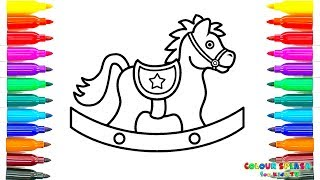 How to Draw a Rocking Horse Coloring Pages | Kids Learn Drawing | Art Colours for Children