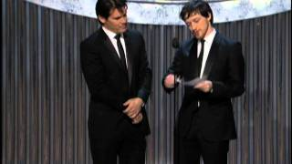 Joel Coen and Ethan Coen winning Best Adapted Screenplay