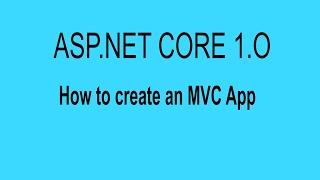 إنشاء أول ASP.NET الأساسية 1.O MVC التطبيق