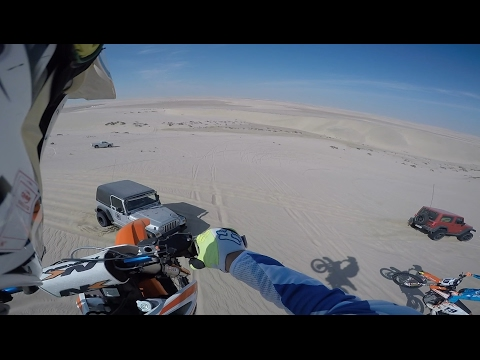 100ft Dirt bike dune jump landed onto Jeep wrangler hood