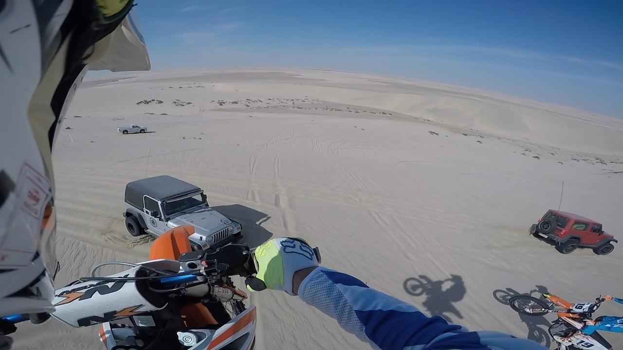 100ft Dirt Bike Dune Jump Landed Onto Jeep Wrangler Hood Youtube