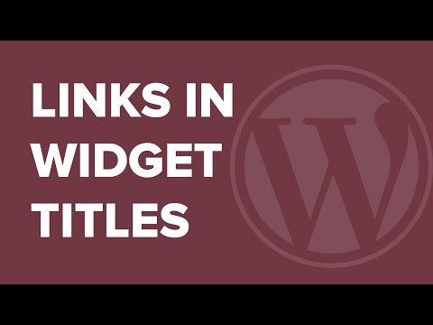 How to Add a Link to Widget Titles in WordPress - 동영상