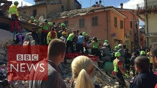 Survivor rescued from rubble after Italy earthquake - BBC News