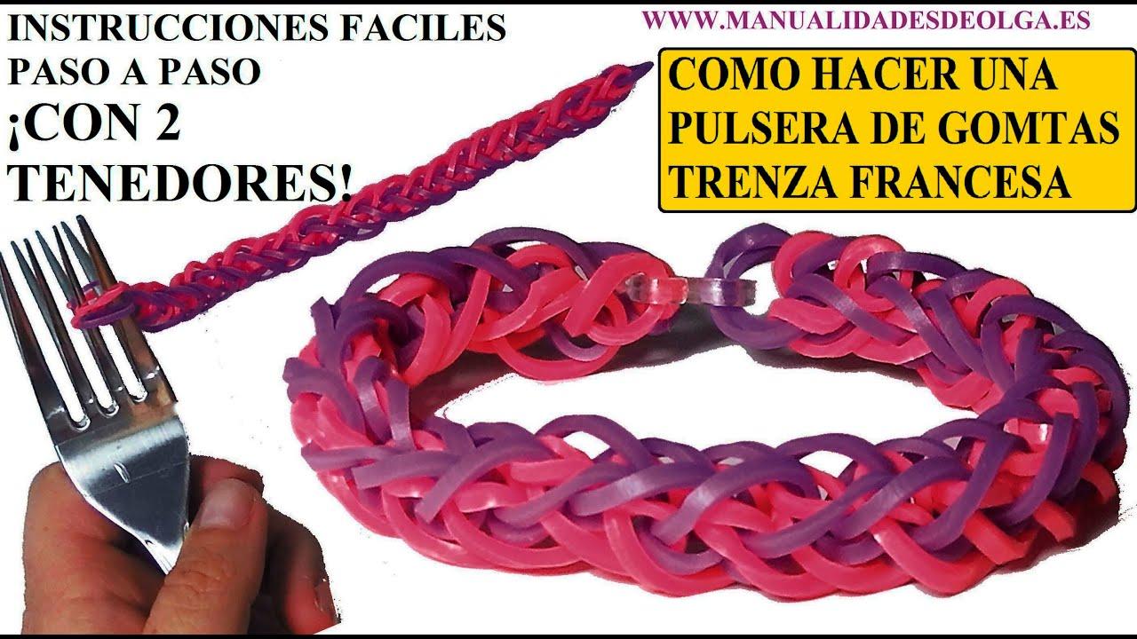 COMO HACER PULSERA DE GOMITAS TRENZA FRANCESA CON 2 TENEDORES