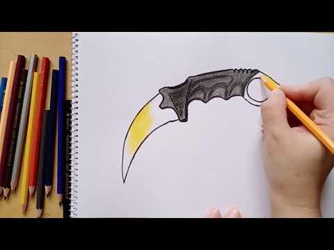 Как нарисовать керамбит мраморный градиент || How To Draw A Karambit Marble Gradient