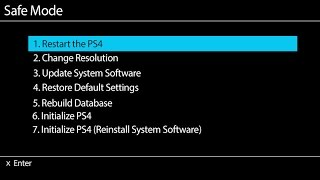 Sony PS4 Rebuild Database in Safe Mode