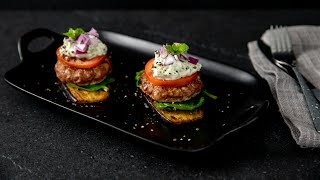 Lamb Sliders With Roasted Eggplant & Cucumber Sour Cream