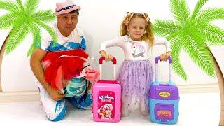 Nastya e pai foram viajar e encontrar brinquedos assustadores