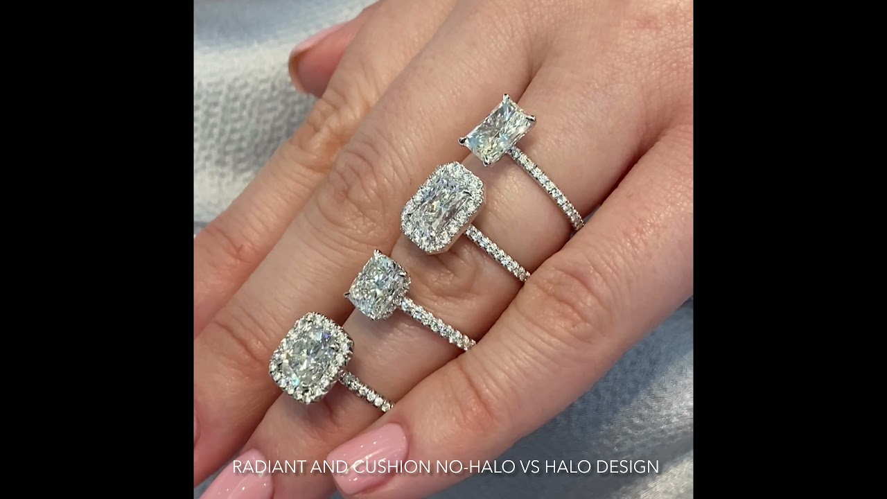 4 Carat Radiant Diamond Rings: Halo VS No Halo