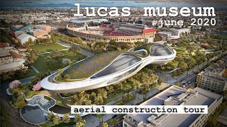 George Lucas Museum Aerial Update next to LA Coliseum June '20