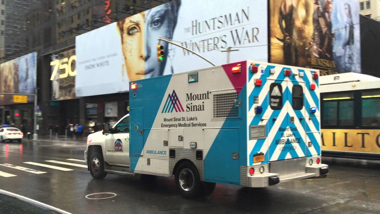 MOUNT SINAI WEST HOSPITAL EMS AMBULANCE RESPONDING WITH A TIMBERWOLF SIREN  ON 7TH AVE  IN MANHATTAN