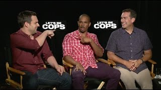 Jake Johnson, Damon Wayans Jr., Rob Riggle Interview - Let's Be Cops (HD) 2014