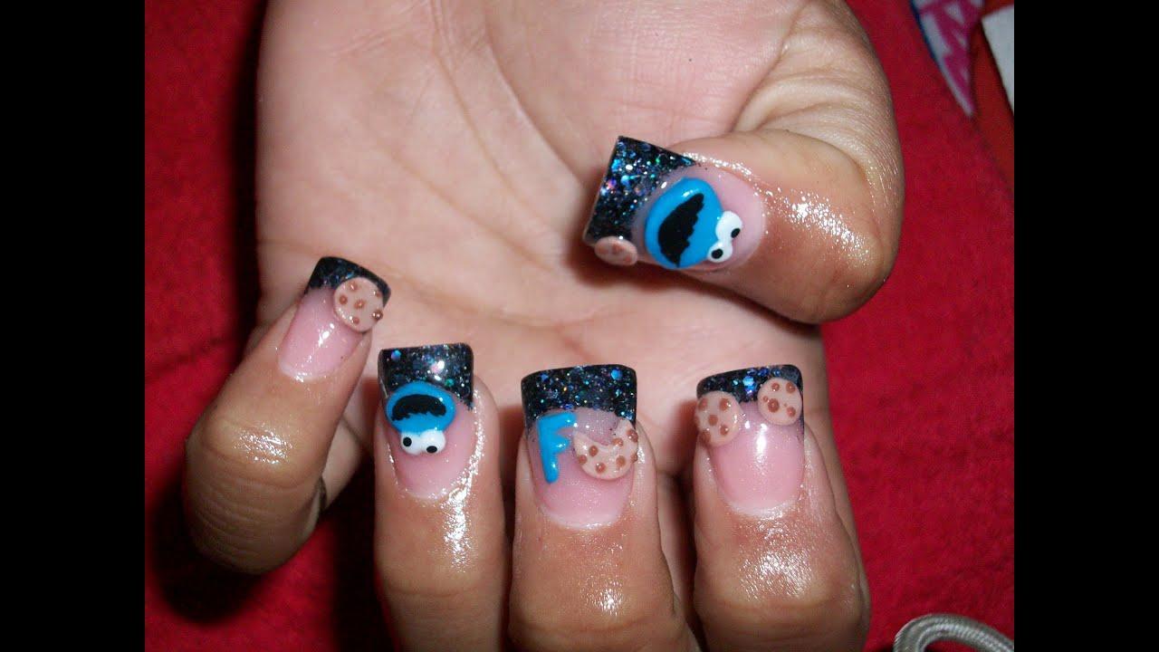 Acrylic nail design cookie monster 3d monstro de galleta 6 youtube voltagebd Images
