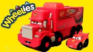 Wheelies Cars Mack Truck Hauler Launcher Lightning McQueen Talking Truck Disney Pixar Superhero Cars