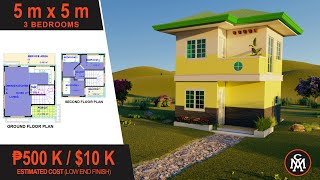 2 Storey House Plan 5x5m With 3 Bedrooms | House Design With Floor Plan Hd #3
