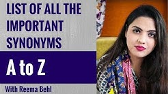 Synonyms in English - A to Z - Learn Important Words and Their Meaning - SSC CGL CHSL BANK PO